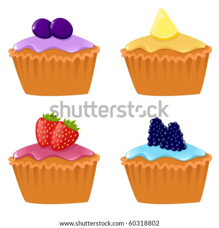 Set of four vector cupcakes with berries - stock vector