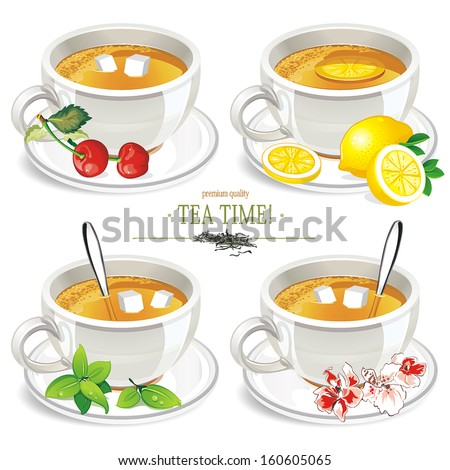 Set of four vector cups of tea with tea isolated on White Background - stock vector
