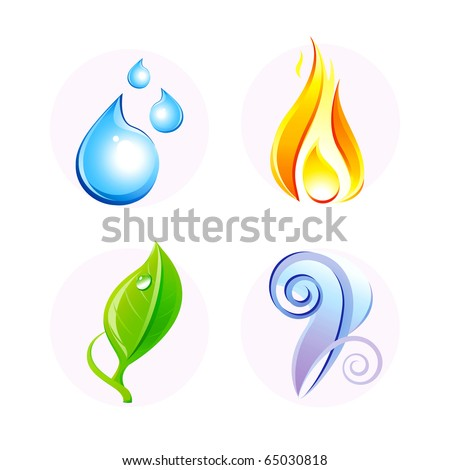 Set of four vector elements: fire, water, air, ground. - stock vector