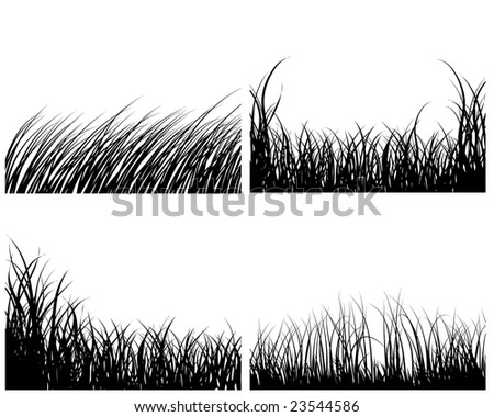 Set of four vector grass silhouettes backgrounds - stock vector