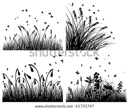 Set Of Four Vector Grass Silhouettes Backgrounds Stock Vector on Illustration With Red Floral Frame On Grey Background Stock Vector