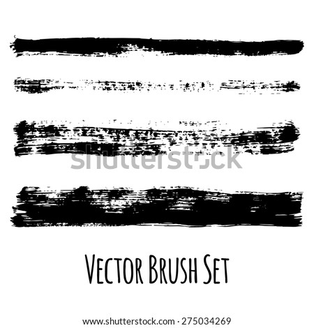 Set of four vector grunge contrasting brushes - stock vector