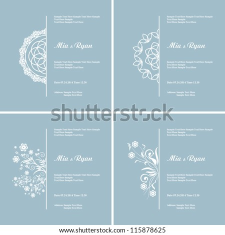 Set of four Vector Half Ornament Frame. Background of color of a lavender. Grouped for easy editing. Perfect for invitations or announcements. - stock vector