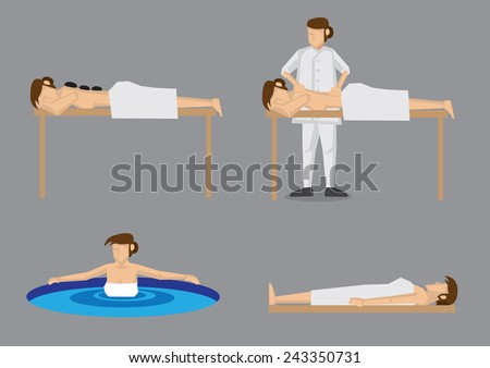 Set of four vector illustration of lady pampering herself by enjoying day spa treatment like hot stone massage, back massage, hot spring and sauna, isolated on grey background - stock vector
