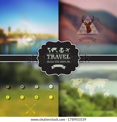 Set of four vector landscape with badge. Vector green landscape with hipster badge. Mountain view. Nature landscapes. Travel, ecology, eco concept. Map. Icon. Web template. Corporate website design.  - stock vector