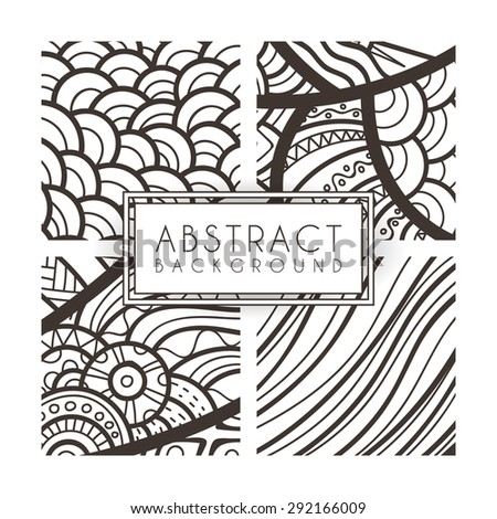 Set of four vector monochrome intricate patterns. Doodle. Zentangle