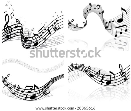 Set of four vector musical notes staff - stock vector
