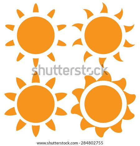 Set of four vector orange sun on a white background - stock vector
