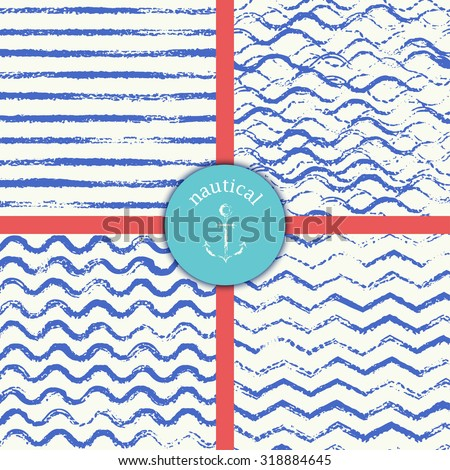 Set of four vector seamless patterns. Nautical grungy style background. Striped, wavy, chevron and stormy wave navy blue design.  - stock vector