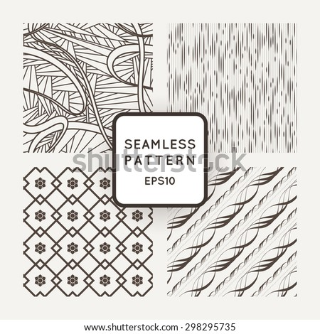 Set of four vector seamless patterns with flowers and wavy lines - stock vector