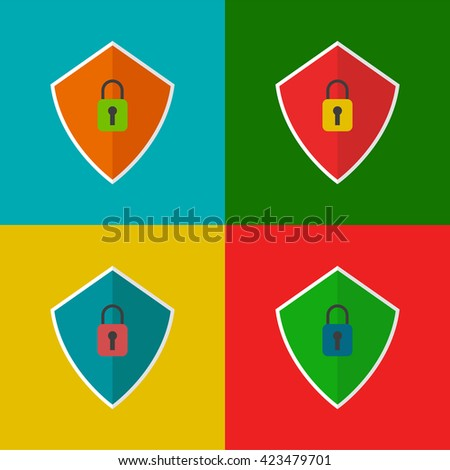 Set of four vector shields with padlock icons. - stock vector