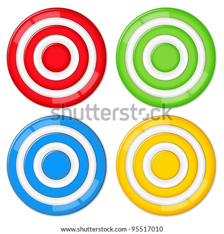 Set of four vector targets on white background - stock vector