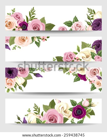 Set of four vector web banners with pink, purple and white roses, lisianthus and anemone flowers and green leaves.  - stock vector