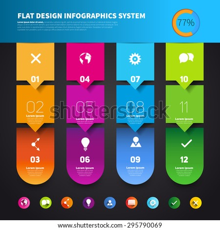 Set of four version options, infographics vector paper progress steps for tutorial - stock vector