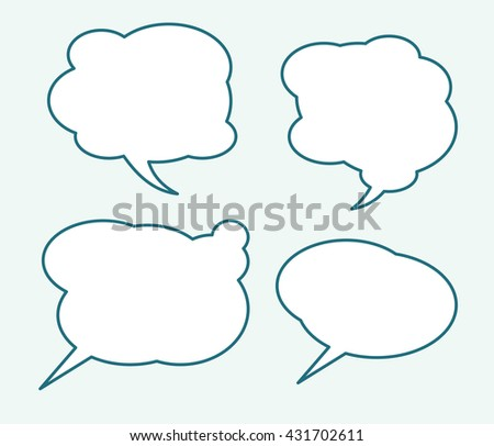 Set of four very simple talking bubbles with full editable stroke weight and fill color.