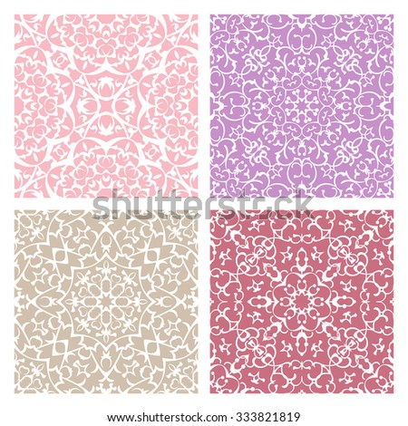 Set of four warm color lacy quadrate seamless oriental backgrounds