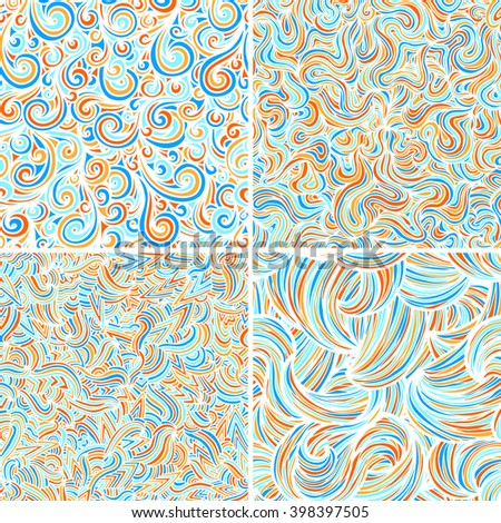 Set of four wave patterns. Seamless pattern background.