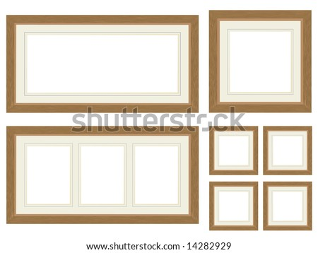 Set of four woode photo frames - stock vector
