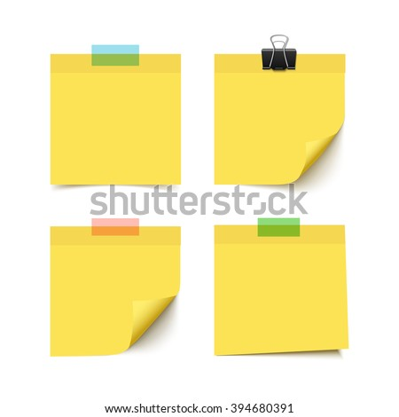 Set of four yellow sticky notes with scotch tape pieces. Realistic vector illustration of post it paper notes isolated on white background. Notepaper pieces. - stock vector