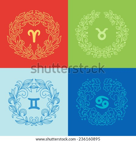 Set of four zodiac signs in outlined wreathes. Fire, Earth, Water, Air elements. Aries (The Ram), Taurus (The Bull), Gemini (The Twins), Cancer (The Crab). Perfect for calendars, horoscopes  - stock vector