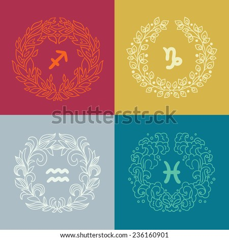 Set of four zodiac signs in outlined wreathes. Fire, Earth, Water, Air elements. Sagittarius (The Archer), Capricorn (The Sea-Goat), Aquarius (The Water-Bearer), Pisces (The Fish). Vector illustration - stock vector