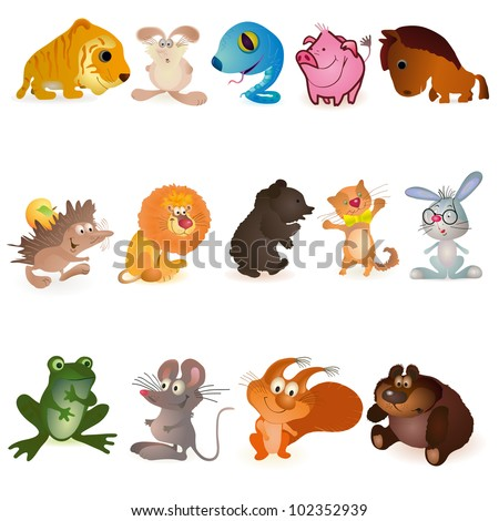 Set of fourteen funny animals - stock vector