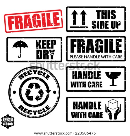Set of fragile sticker handle with care and case icon packaging symbols sign, keep dry, do not litter and this side up rubber stamp on white background, vector illustration  - stock vector