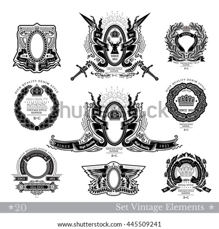 Set Of Frame With Different Pattern And Weapons Isolated On White - stock vector