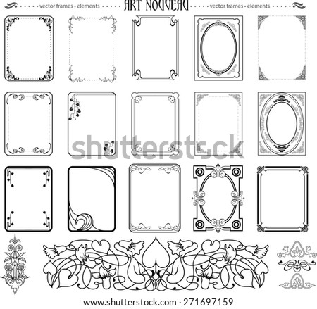 Set of frames and elements in art nouveu style - stock vector