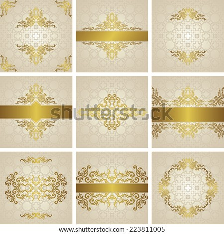 Set of frames, cards and invitations on  seamless background. Gold decoration