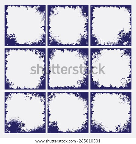 Set of 9 frames in grunge style. - stock vector