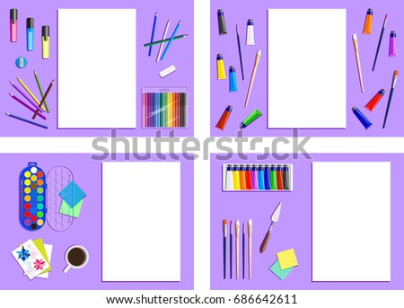 Set of frames of artists supplies. Drawing  tools. Stationery and workplace in flat style. School equipment. Top view. Background with Items for creator, artist, designer