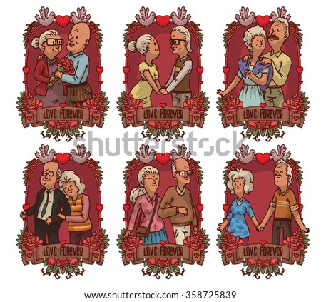 Set of frames with cute cartoon old couples. They live together all their lives. They love together very much. Their love can lives forever. Done in cute hand drawn style. vector illustration - stock vector