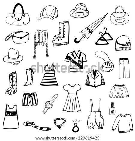 set of free hand drawing clothes sketch vector - stock vector