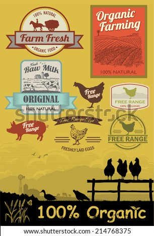 Set of free range and organic labels - stock vector