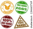 Set of free range chicken and eggs rubber stamps, vector illustration - stock vector