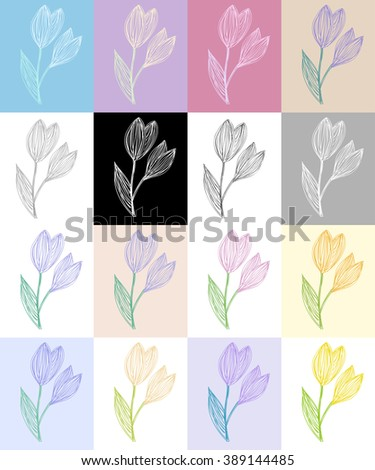 Set of freehand drawing snowdrops of different colors. Vector Eps10.  - stock vector
