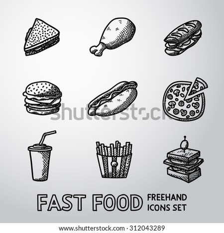 Set of freehand FAST FOOD icons - sandwich, chicken, hamburger, hotdog, pizza, french fries, canape, soda. Vector - stock vector