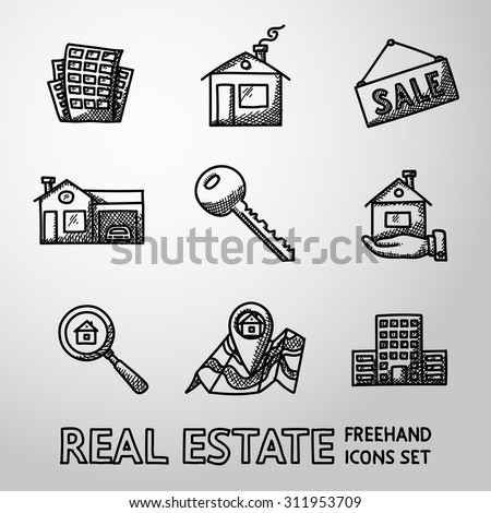 Set of freehand REAL ESTATE icons - landscape, house, sale tag, big house, key, hand with house, search icon, map, skyscraper. Vector - stock vector