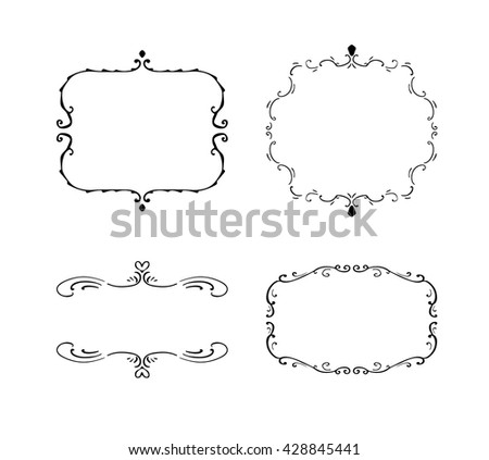 Set of freehand vintage frames. Vector illustration isolated on white. Elegant retro design elements for wedding invitations - stock vector