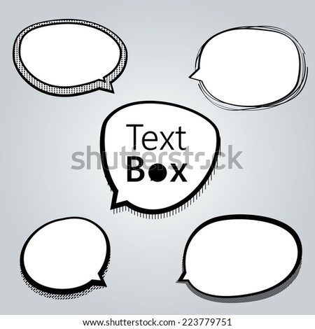 Set of freestyle text box and speech bubble isolated on grey background. Vector illustration - stock vector