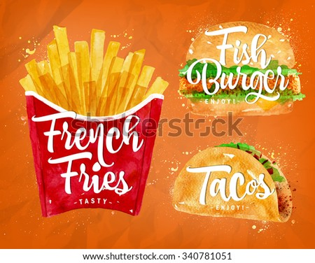 Set of french fries, fish burger and tacos drawing with color paint on orange background. - stock vector