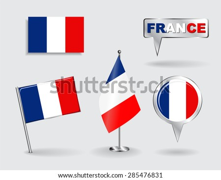 Set of French pin, icon and map pointer flags. Vector illustration. - stock vector