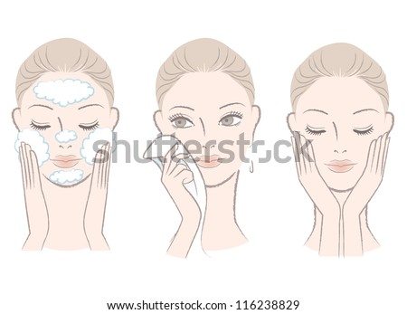 Set of fresh, beautiful woman in process of washing face. Wiping face with towel. Isolated on white.Hand-drawn like style. - stock vector