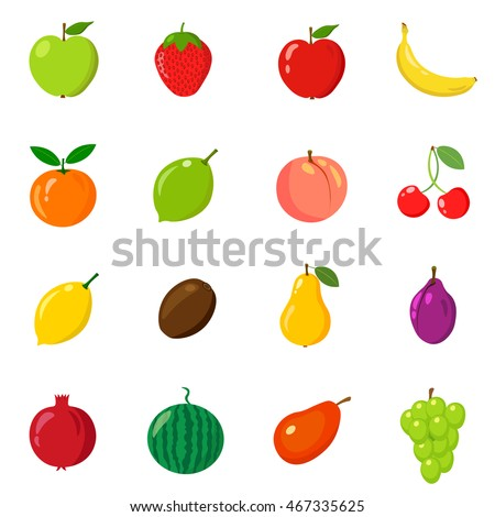 Set of fresh fruits on a white background. Vector illustration.