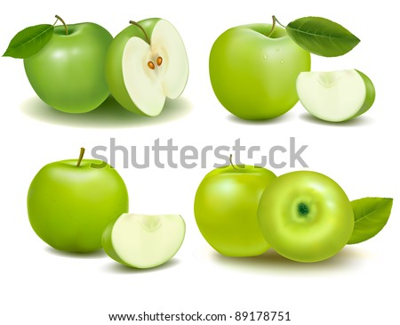Set of fresh green apples with green leafs. Vector. - stock vector