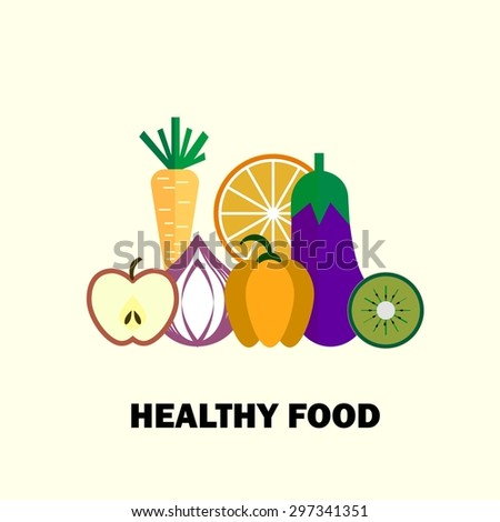 Set of fresh healthy fruits and vegetables made in logo style - each one is isolated for easy use. Healthy lifestyle or diet vector design element. Organic farm illustration. - stock vector