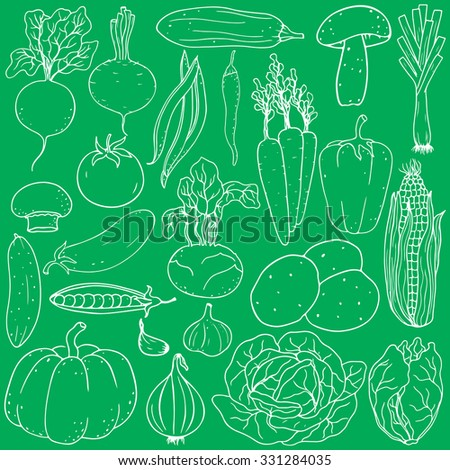 Set of fresh healthy hand-drawing vegetables isolated on white background. Flat design. Organic farm illustration. Healthy lifestyle vector design elements.  - stock vector