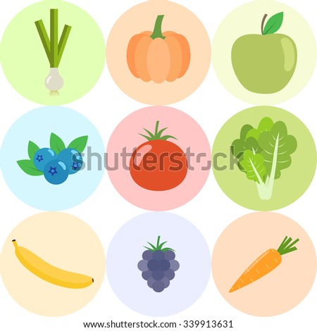 Set of fresh healthy vegetables, fruits and berries isolated. Flat design. Organic farm illustration. Healthy lifestyle vector design elements.  - stock vector