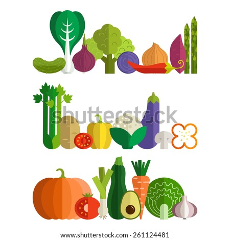 Set of fresh healthy vegetables made in flat style - each one is isolated for easy use. Healthy lifestyle or diet vector design element. Organic farm illustration.  - stock vector